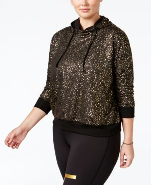 Material Girl Active Plus Size Metallic Hoodie, Only at Macy's - Black