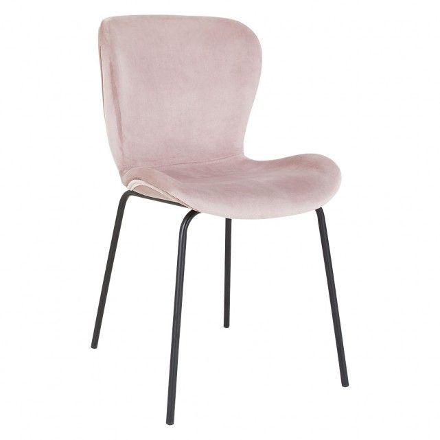Etta Chair Pink Velvet Upholstered Dining Chair With Black Metal