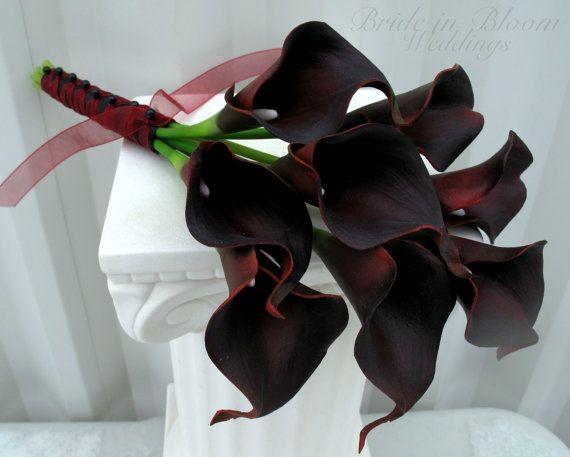Calla Lily Wedding Bouquet Dark Red Black By Brideinbloomweddings