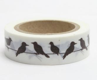 Washi pásky a Duct Tape - Washi pásky 15mmx10m - Dekorační lepicí páska - WASHI tape-1ks černí ptáci - Výtvarné hračky