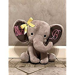 """Personalized Decorative 9"""" Stuffed Grey Elephant. Great for Baby Shower or Birthday Gift."""