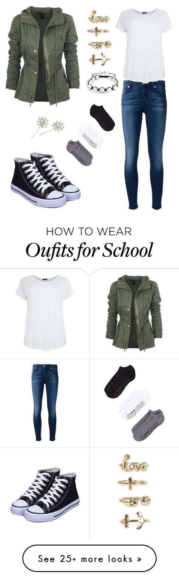 """""""A topical Day At School"""" by lilysantamaria80 on Polyvore featuring 7 For All Mankind, Zella, Bling Jewelry, Jennifer Behr and NLY Trend"""