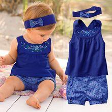 Moda Ubrania dla niemowląt Lato kostiumem noworodka dziewczynka Set (rękaw Romper + pałąk + spodnie) Niemowlę Jeden Sztuk Roupas De Bebe Menina (Chiny (kontynentalne))