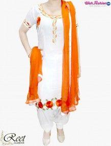 Enthralling White and Orange Punjabi Suit