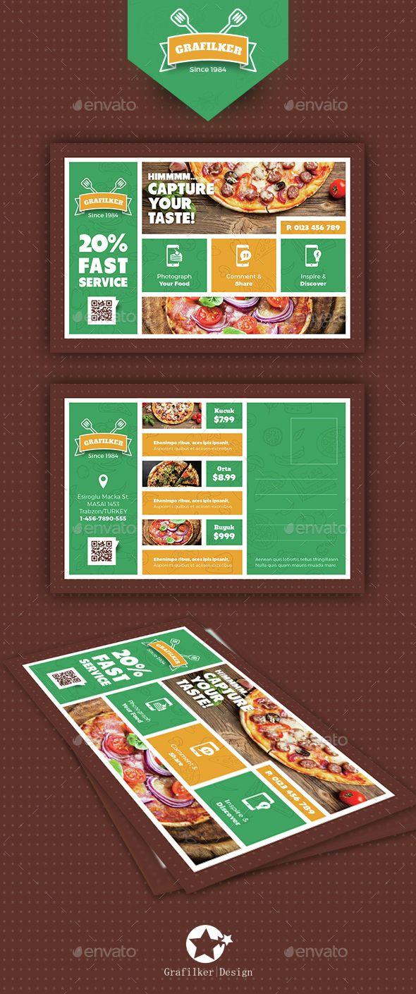 Pizza App Postcard Templates