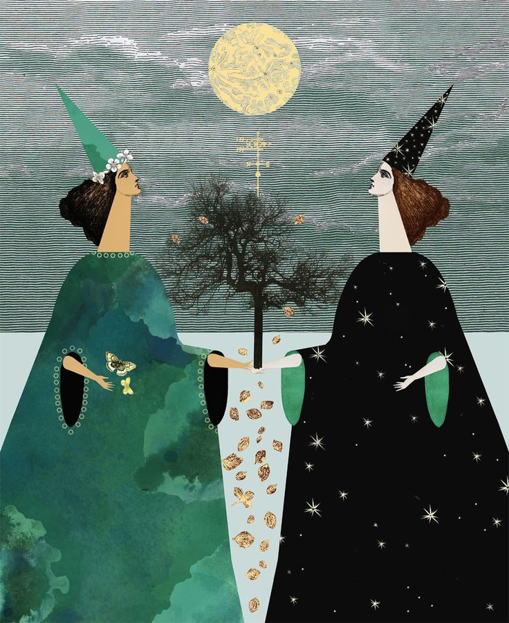 That Which We Do Not Understand limited edition faux gold leaf art print: The Weather Witches by Katie Ponder, inspired by the change of seasons, witchcraft and the design of tarot cards. Made as a limited edition of 10, grab yours now before the sell out!