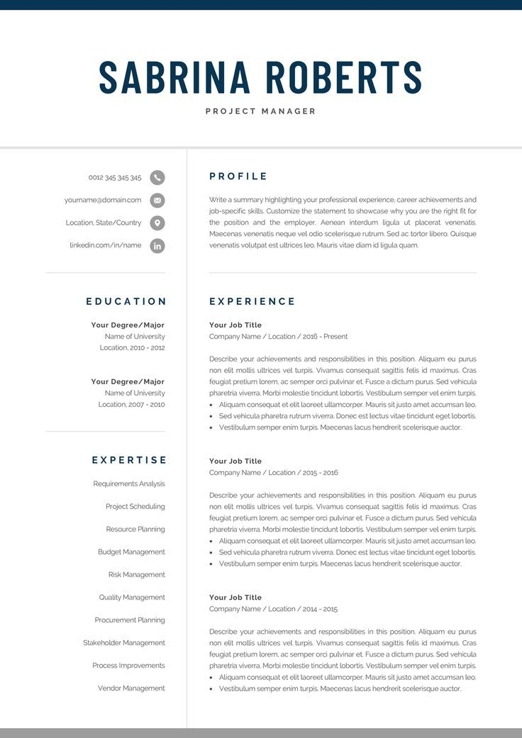 Resume Template Professional Resume Cv Template Modern
