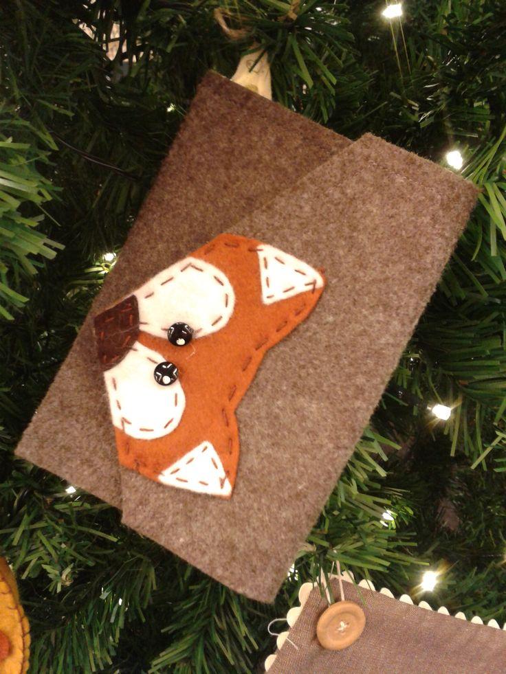 borsetta in feltro con applicazioni in pannolenci a forma di volpe. Meravigliosa e stupenda per fare dei regali!