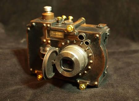 This is just a typical digital camera that's been housed in a very well executed steampunk styled case, created by Herr Döktor