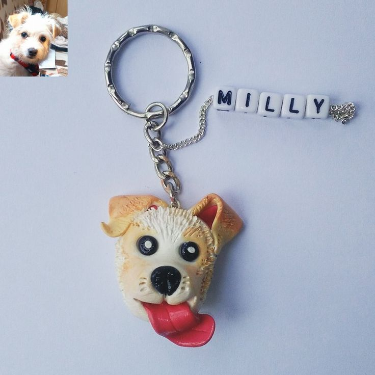 polymer clay, jack russel terrier mix bichon frise, handmade, dog, fimo