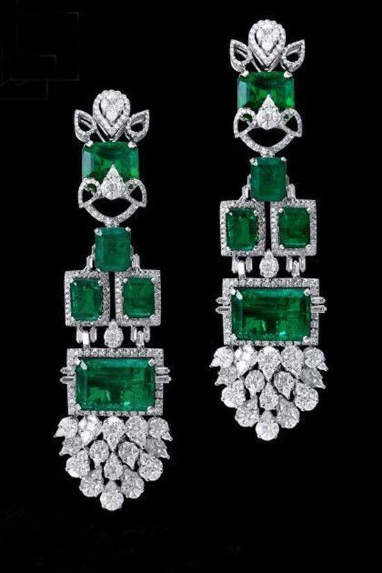 Long Earring 925 Sterling Silver Green Emerald Halo Vintage Dangle Party Jewelry #NIKI #Chandelier