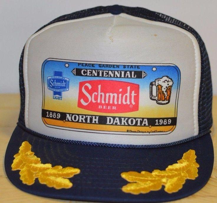 Vintage Schmidt Beer Trucker Hat North Dakota Centennial Peace Garden State Leaf #SchmidtBeer #TruckerCap #Errday