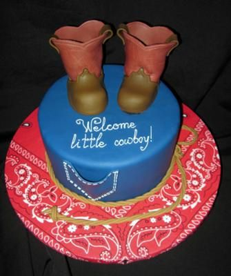 Simple and cute. Bootie cutters were purchased from Sharon Sugarshack.  Where would you like to go next:  View more Cowboy Cakes   Visit our Cowboy Theme