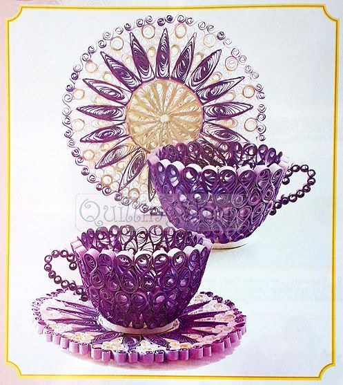 Quilled purple teacups and saucers paper quilling.