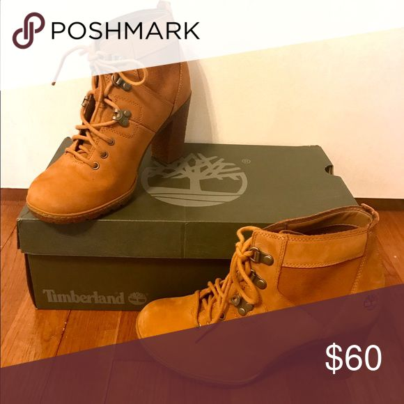 Timberland high heel lace-up booties Wheat color. Size 7. Brand new, never worn. Timberland Shoes Ankle Boots & Booties