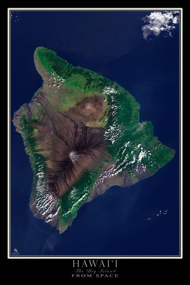 Hawaii The Big Island Satellite Poster Map