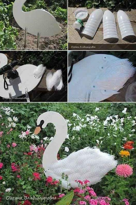 Swan Garden Decorations Using Plastic Bottles