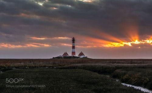 Westerhever by DVO82  sky sea sunset beach clouds lighthouse germany schleswig-holstein nordsee leuchtturm westerhever Kre