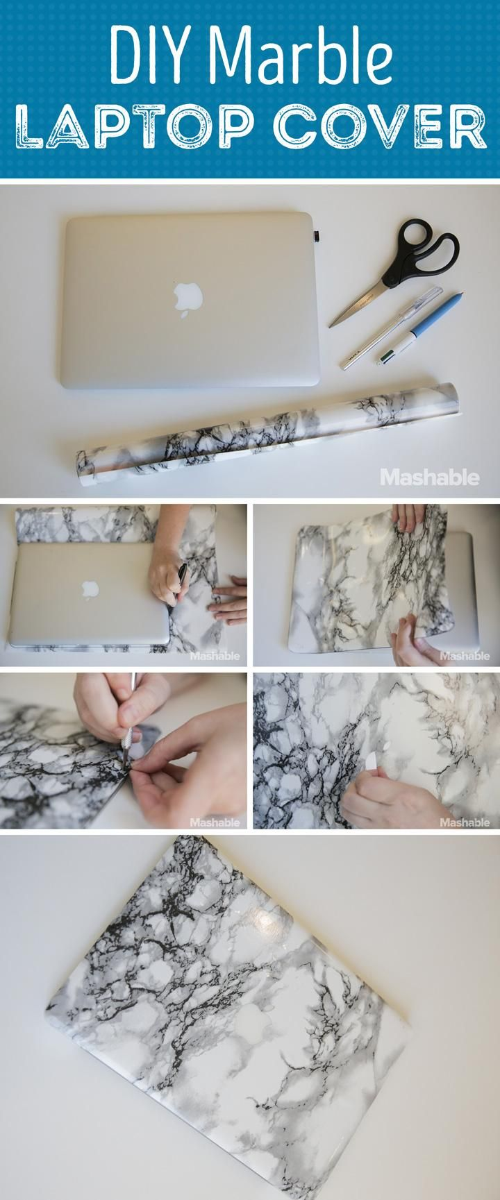 Personalize your computer with this DIY marble laptop cover