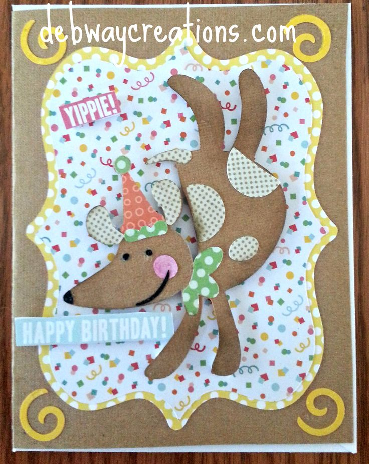 Hi all, Today I have a male birthday card for you. I used the Cricut Birthday Bash Cartridge for the dog, Elegant Edges for the mats and a 5x5 paper pad I got at AC Moore for the papers.