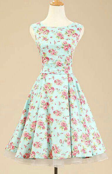 Mint green floral dress.