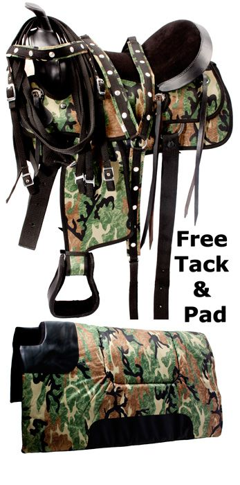 Green Camo Lightweight Western Synthetic Tack Saddle 15 18- Western Horse Saddles - Saddle Online