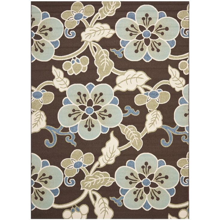 Safavieh Veranda Indoor/ Outdoor Chocolate/ Aqua Rug (5'3 x 7'7) (VER140-2760-5), Brown, Size 5' x 8' (Polypropylene, Synthetic, Floral)