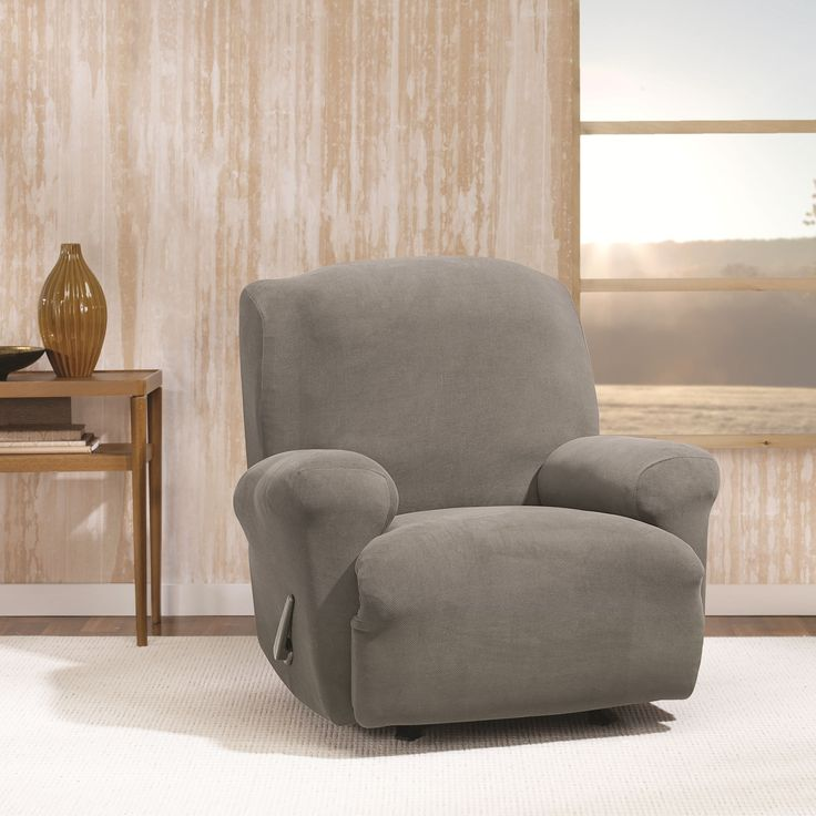 Sure Fit Stretch Morgan Recliner Furniture Cover (Ivory), Beige Off-White (Solid)