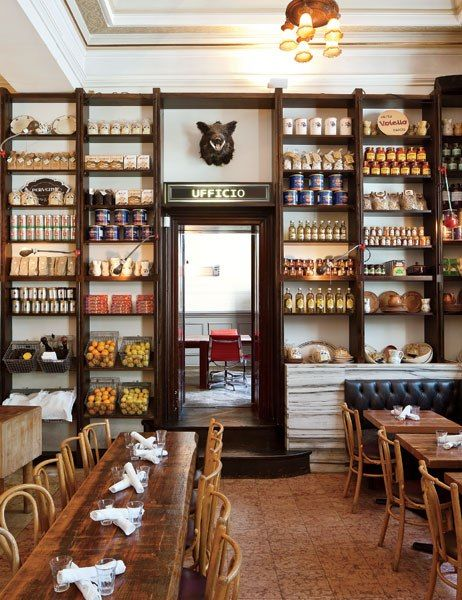 The shelving at this #cafe makes good use of a high wall.Terroni | Toronto