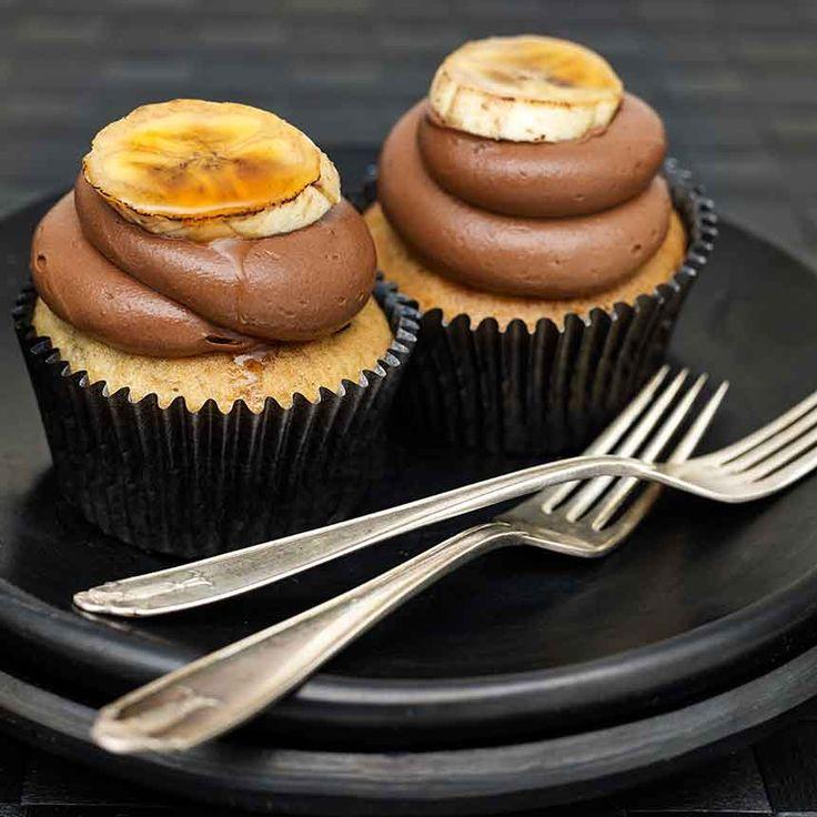 Ljuvliga cupcakes med banan och Nutella. Snygga är de också!