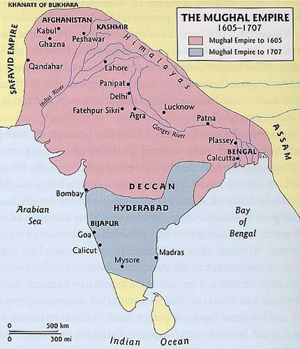 The decline of the Mughal empire Indian disunity contributed to British success. By the beginning of the 19th century, India was Britain's colonial possession. Indian ports were vital to to British sea power.  This was the Mughal empire before Britain took it.