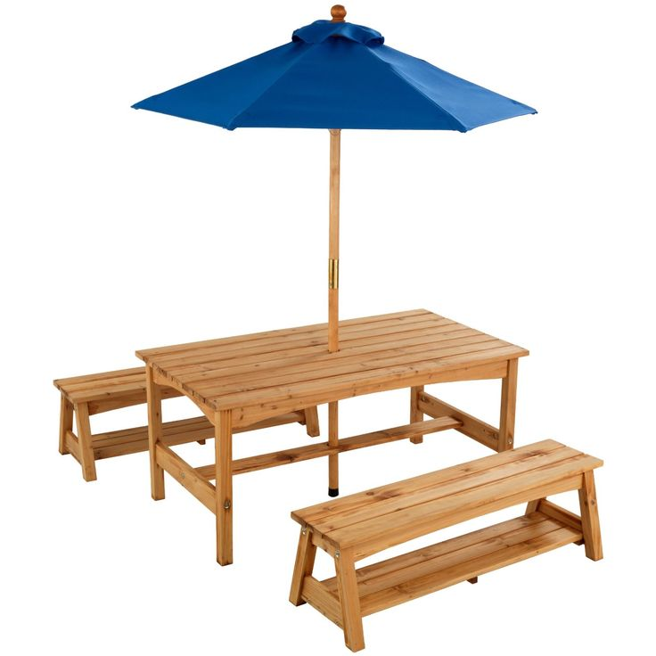 KidKraft Outdoor Table And Benches With Blue Umbrella   Optional  Personalization   Encourage Your Kids To