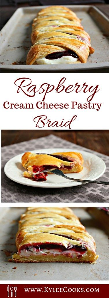 With a sweet cream cheese and raspberry filling, this pastry braid is a WINNER! It only takes 5 minutes to throw together, 20 (ish) minutes to bake, and you have a pretty looking and delicious tasting pastry to cut and share.