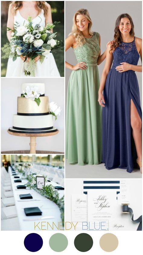A Navy Blue & Sage Green wedding color palette.   Kennedy Blue Bridesmaid Dresses Jade in Sage and Madeline in Navy