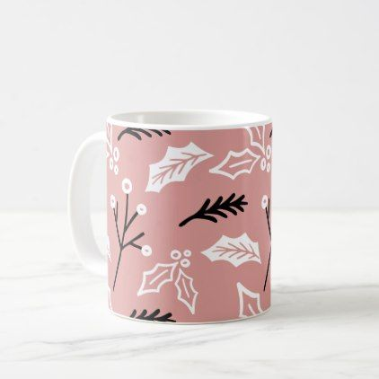 #Christmas Pattern Modern Doodle Old Pink Coffee Mug - #drinkware #cool #special