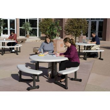 Lifetime Round Picnic Table Attached Benches Swing Open For Easy  Accessibility