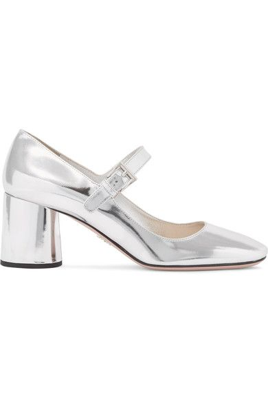 Prada - Metallic Leather Mary Jane Pumps - Silver - IT37.5