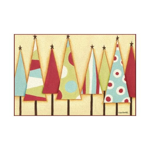 Funky Christmas Trees Stretched Canvas