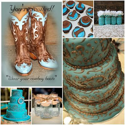Quince Candles: Aqua Blue Country Western Theme