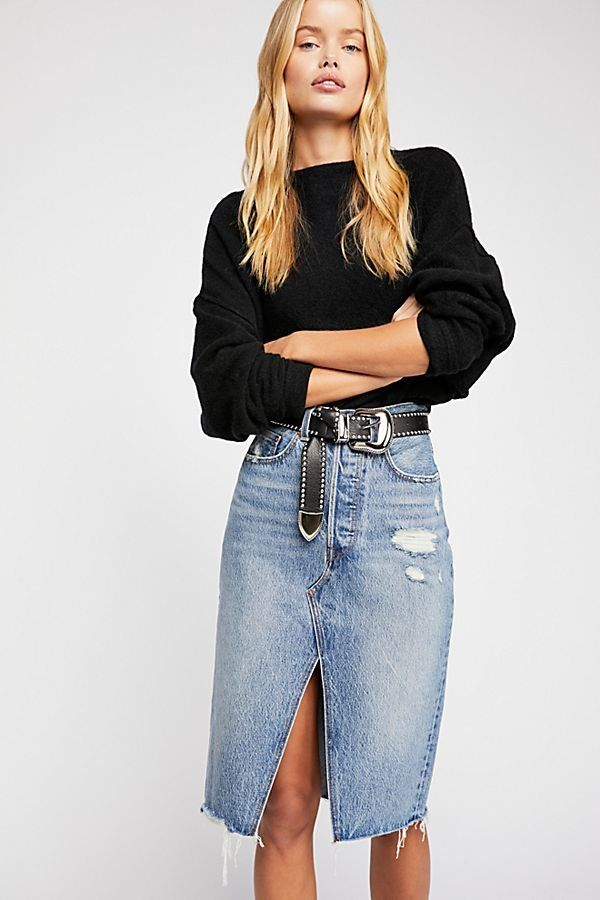 9d1f2c8ebf Levi's Deconstructed Long Skirt - Knee-Length Denim Skirt with Front Slit  and Distressed Detail