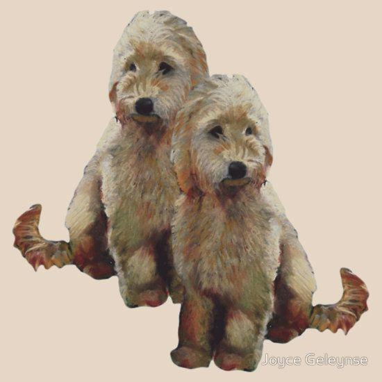 Golden Doodle Puppies, Dog Couple, Oil Pastel Art