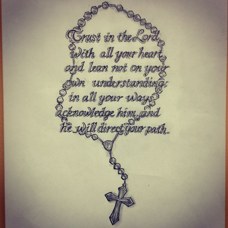 Bible Scripture / Rosary Tattoo Sketch By