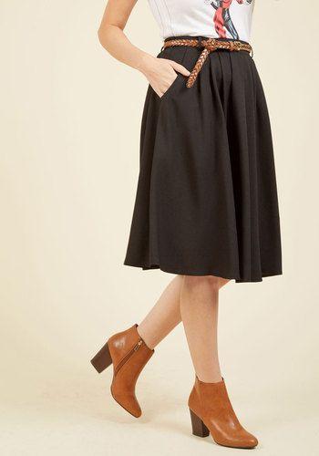Breathtaking Tiger Lilies Midi Skirt in Black | Mod Retro Vintage Skirts | ModCloth.com
