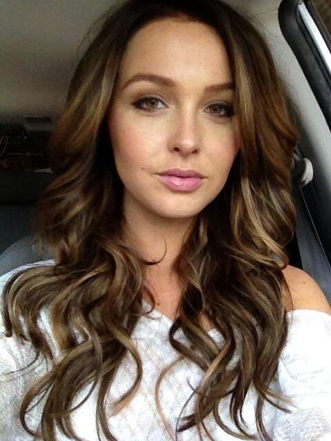 Medium brown hair with honey blonde highlights. Beautiful.