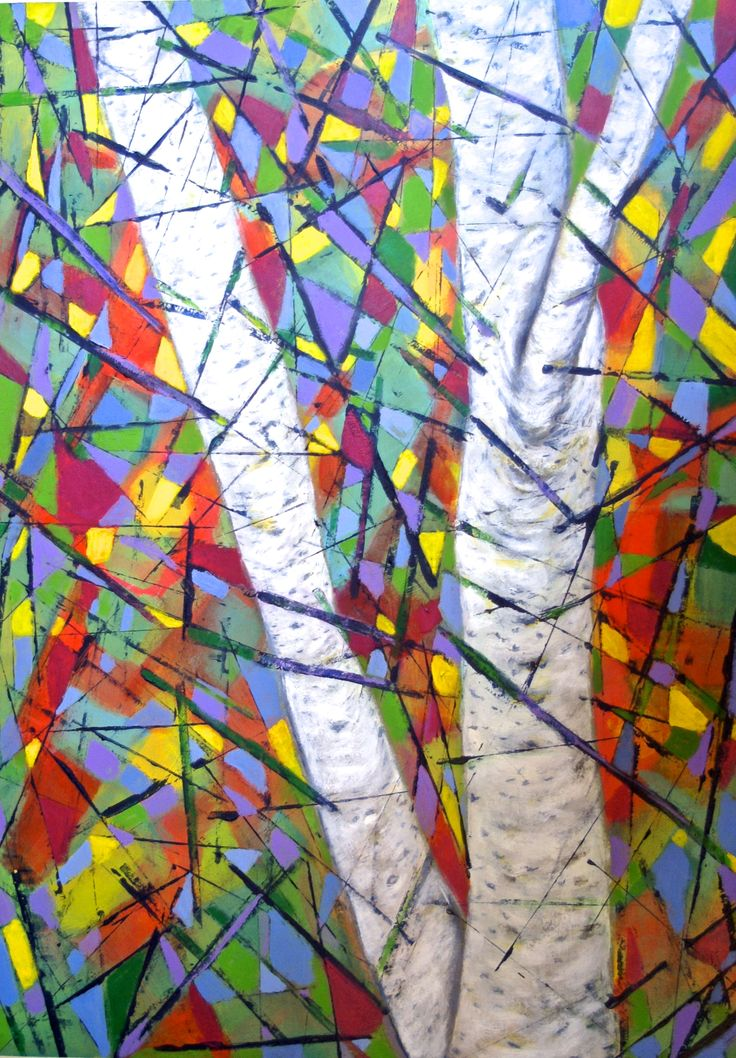 Silver Birch in Winter; Margaret Hage, acrylic on board, gesso.