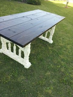 I love this garden table made from old porch railings.