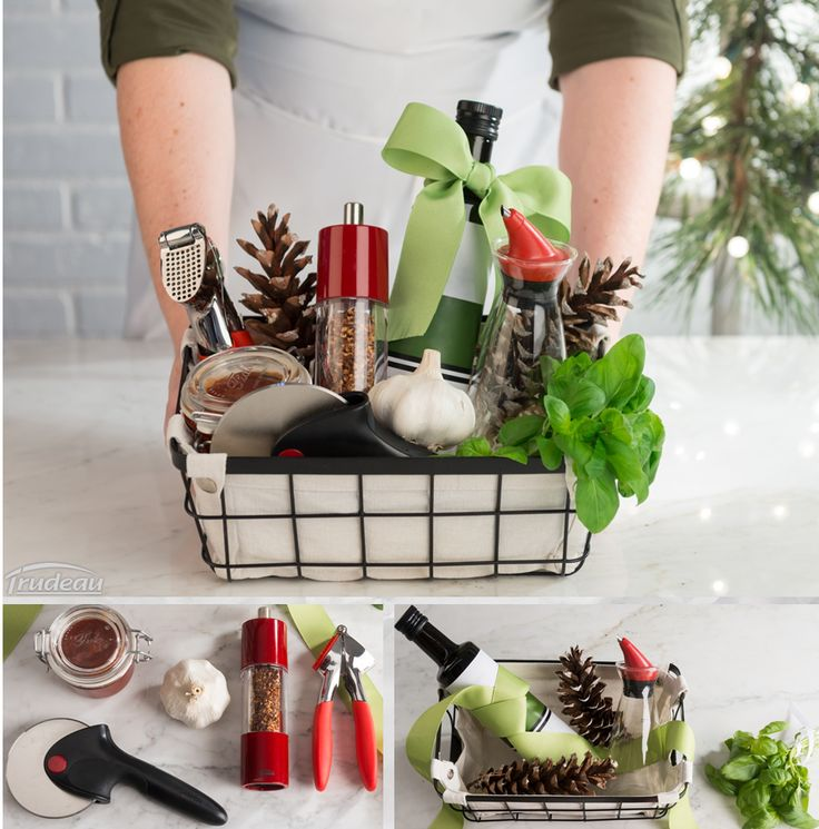 Need inspiration to make an original gift basket? In a nice basket, place fresh ingredients and Trudeau kitchen products for the pizza lover!  ///  Besoin d'inspiration pour assembler un panier cadeau original? Dans un beau panier, placer des ingrédients frais ainsi que des outils de cuisine Trudeau pour l'amateur de pizza. #simplecuisine #gift #basket #joy #pizza #Holiday
