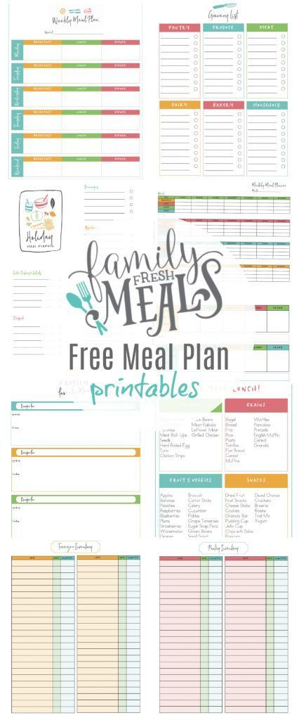 Free Meals Plan Printables - Family Fresh Meals