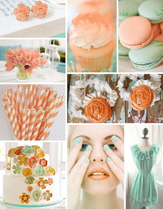 Peach and patina so happy together.: Colour, Color Inspiration, Color Schemes, Wedding Ideas, Peach, Wedding Colors, Dream Wedding, Color Palette