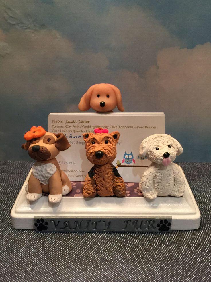 Business card holder for pet grooming, pet hospital, Veterinerian,dogs, Yorkie dog, Animal business card holder, desktop card holder. by NaomisSweetStuff on Etsy